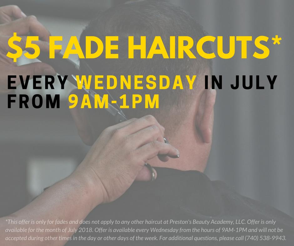 haircut flyer | hair services in Marietta, OH | Preston's Beauty Academy